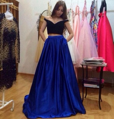 A-Line Two-Pieces Off-the-Shoulder Pockets Glamorous Prom Dresses_3