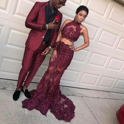 Dramatic Two Pieces Halter Prom Dresses | Sleeveless Burgundy Lace Evening Dresses_3