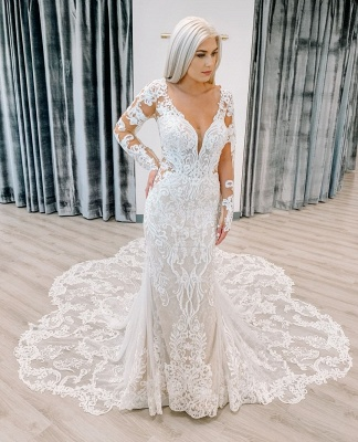 Unique Long Sleeve Plunging V Neckline Lace Mermaid Wedding Dresses_2