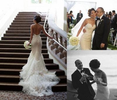 Sweep-Train Tulle Spaghetti-Strap Backless Mermaid Glamorous Wedding Dresses_4