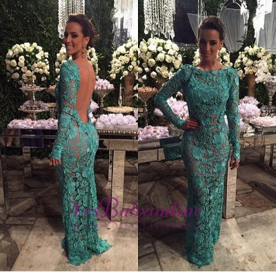 Mermaid Long Sheer-Lace Open-Back Long-Sleeves Evening Gown_1