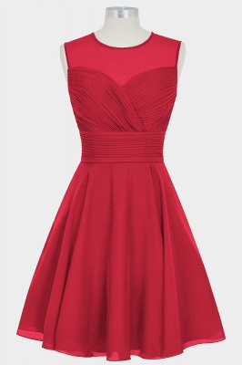 A Line Chiffon Round Neck Sleeveless Bridesmaid Dresses with Ruffles_5