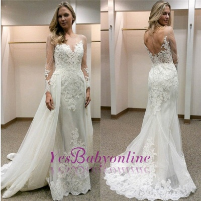 Open-Back Tulle Simple Column Appliques Long Sleevess Wedding Dress_1