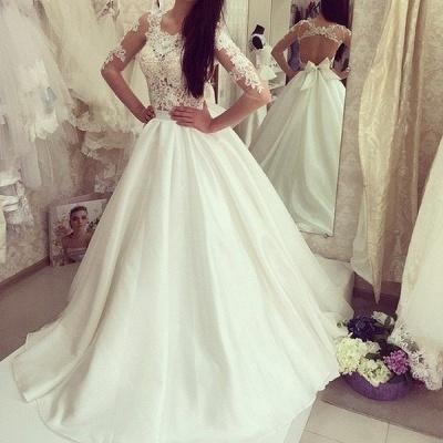 Sweep Train Half-sleeves Bow Sweep Train Glamorous A-line Wedding Dress_3