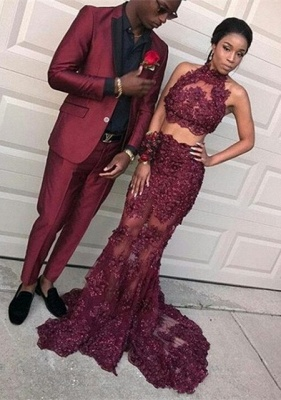 Dramatic Two Pieces Halter Prom Dresses | Sleeveless Burgundy Lace Evening Dresses_2