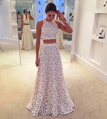Two-Pieces A-line Simple Sleeveless White Lace Prom Dress_3