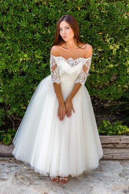 Lace Ball-Gown Simple Floor-length Off-the-shoulder Half-sleeves Wedding Dress_3