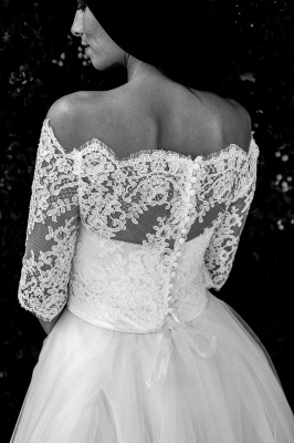 Lace Ball-Gown Simple Floor-length Off-the-shoulder Half-sleeves Wedding Dress_5