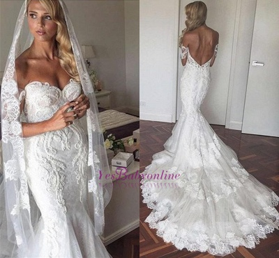 Off-the-Shoulder Lace Tiers Backless Mermaid Wedding Dresses_1