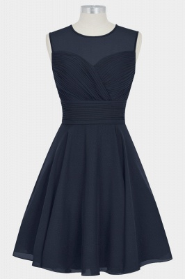 A Line Chiffon Round Neck Sleeveless Bridesmaid Dresses with Ruffles_1