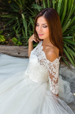 Lace Ball-Gown Simple Floor-length Off-the-shoulder Half-sleeves Wedding Dress_4