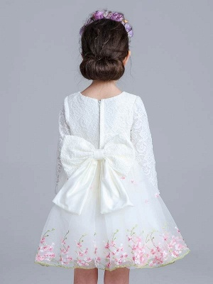 A Line Tulle Lace Long Sleeve Bowknot Knee-Length Girls Party Dress_3