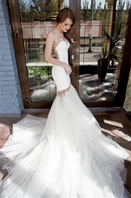 Backless Sexy Mermaid Wedding Dresses | Spaghetti Straps Lace Appliques Bridal Gowns_1