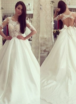 Sweep Train Half-sleeves Bow Sweep Train Glamorous A-line Wedding Dress_2