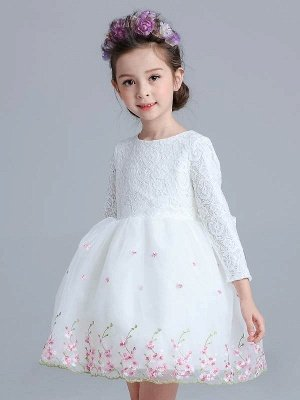 A Line Tulle Lace Long Sleeve Bowknot Knee-Length Girls Party Dress_1