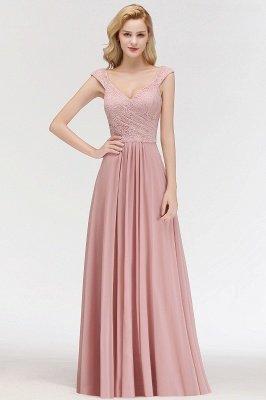 Elegant A-Line Chiffon Bridesmaid Dresses | V-Neck Cap Sleeves Lace Wedding Party Dresses_3