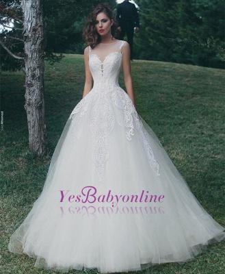 Glamorous Sleeveless A-Line Tulle Appliques Wedding Dress_1