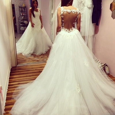 Glamorous Sexy Mermaid Wedding Dresses | Backless Lace Appliques With Detachable Train_3