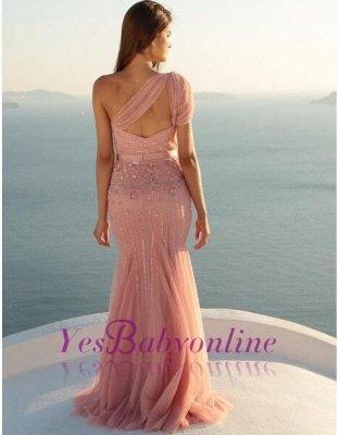 Long Mermaid Beads Modest Sleeveless One-Shoulder Prom Dress_1