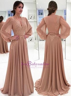 Lace Long-Sleeves V-neck Bow  Elegant Evening Dress_1