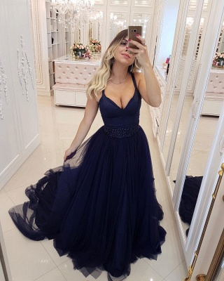 Sexy Spaghetti Straps Evening Dresses   Beaded Tiered  Prom Dresses_3