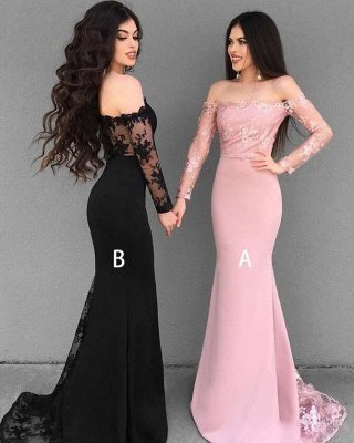 Chic Lace Mermaid Evening Dresses | Off-The-Shoulder Long Sleeves Bridesmaid Dresses_1