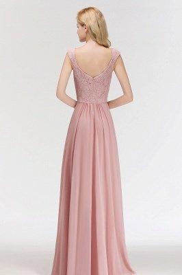Elegant A-Line Chiffon Bridesmaid Dresses | V-Neck Cap Sleeves Lace Wedding Party Dresses_4