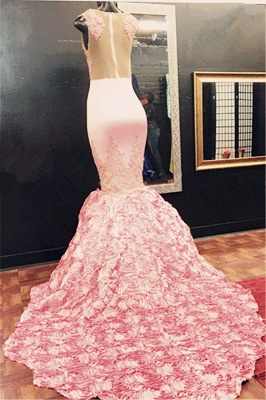 Sleeveless Flowers-Bottom Pink Appliques Mermaid Lace Illusion Gorgeous Prom Dress_3