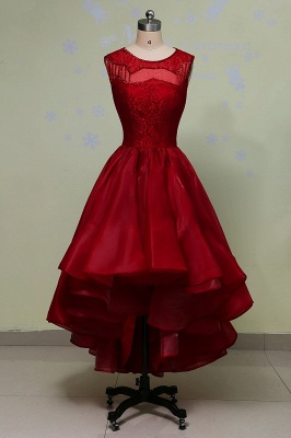 Hi-Lo Sleeveless Glamorous Red Lace Sequins Prom Dress_2