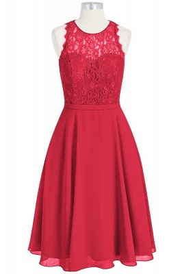 A Line Chiffon Lace Round Neck Open Back Bridesmaid Dresses_3