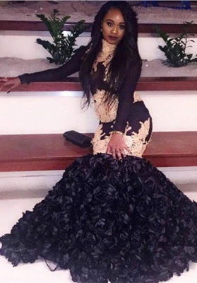 Glamorous Mermaid Black Prom Dresses | Long Sleeves Black Evening Dresses_2