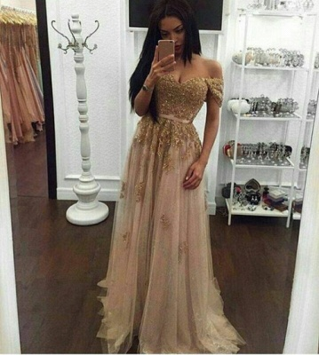 Off-the-Shoulder Prom Dresses Gold Appliques Long Sexy A-line Evening Gowns_3