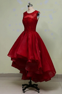 Hi-Lo Sleeveless Glamorous Red Lace Sequins Prom Dress_5