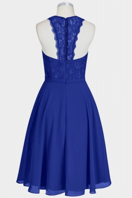 A Line Chiffon Lace Round Neck Open Back Bridesmaid Dresses_2
