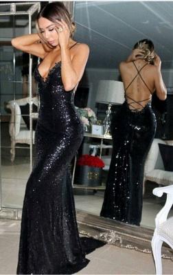 Mermaid Sleeveless Sexy Sweep-Train Black Sequined Prom Dress_2