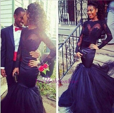 Tulle Mermaid Puffy Lace Long-Sleeve Sheer Prom Dresses_1