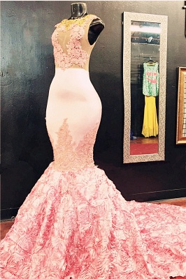 Sleeveless Flowers-Bottom Pink Appliques Mermaid Lace Illusion Gorgeous Prom Dress_2