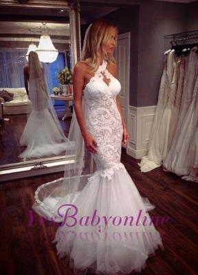 Tulle Glamorous Halter Sleeveless Mermaid Lace Wedding Dress_1