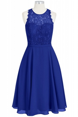 A Line Chiffon Lace Round Neck Open Back Bridesmaid Dresses_1