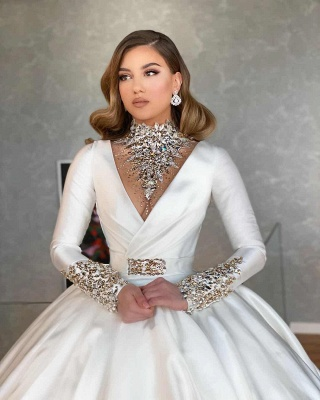 Long Sleeve Plunging Neckline Beading Ball Gown Wedding Dresses | Puffy Wedding Gown_2