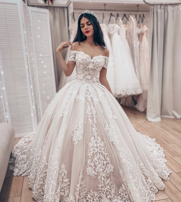 Princess Off The Shoulder Tulle Lace Appliques A-Line Wedding Dresses_3