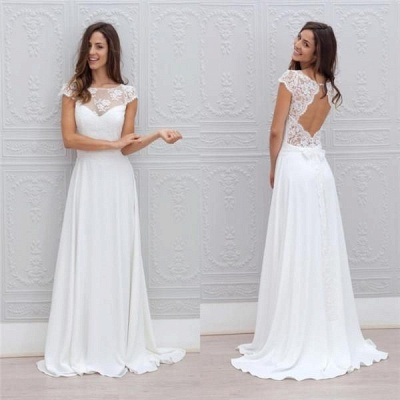 Short-Sleeves Chic Sweep Train Backless White A-line Wedding Dress_4