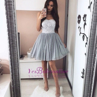 Elegant Silver Homecoming Dresses Sweetheart Neckline Lace Appliques Short Prom Dress_1