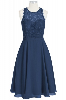 A Line Chiffon Lace Round Neck Open Back Bridesmaid Dresses_5
