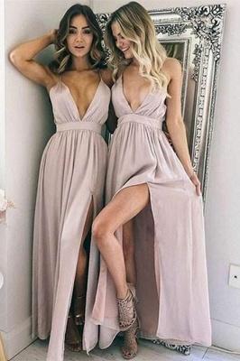 Sexy Simple V-Neck Evening Dresses   Side Slit Floor Length Cheap Party Dresses_1