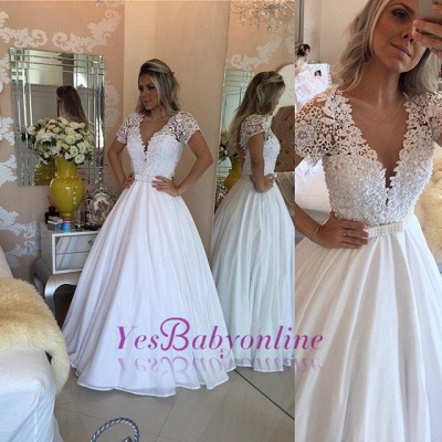 Crystal White Short-Sleeves Lace V-Neck Bowknot Sheer Prom Dress_1