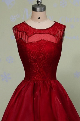 Hi-Lo Sleeveless Glamorous Red Lace Sequins Prom Dress_4
