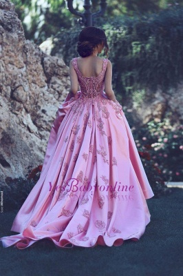 2019 Elegant Puffy Prom Dress Lace Appliques Straps Long Formal Gowns_1
