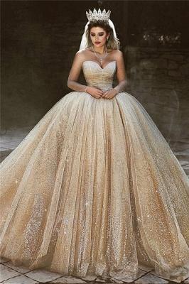 Charming Sparkling Gold Wedding Dresses   Sequined Princess Royal Bridal Dresses_1