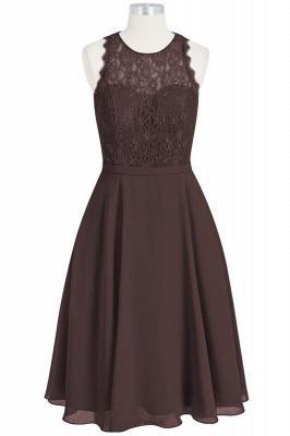 A Line Chiffon Lace Round Neck Open Back Bridesmaid Dresses_4